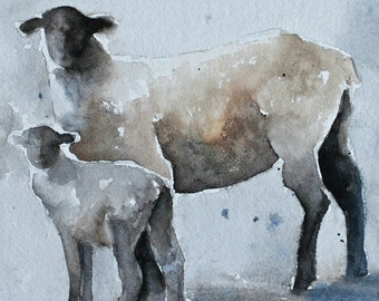 watercolor painting watercolor sheep art print sheep print painting of PRINT Sheep painting lamb painting baby modern minimalist 5x5