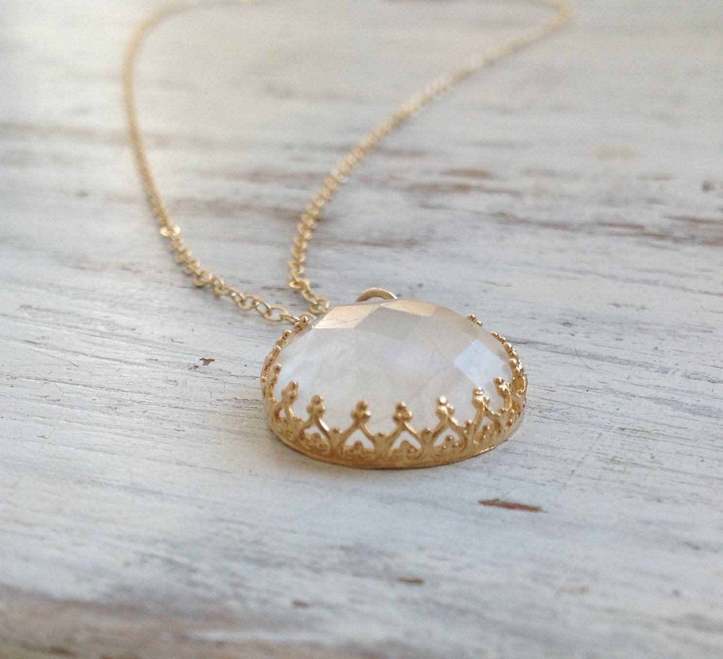 Moonstone Necklace Genuine Moonstone Pendant Necklace