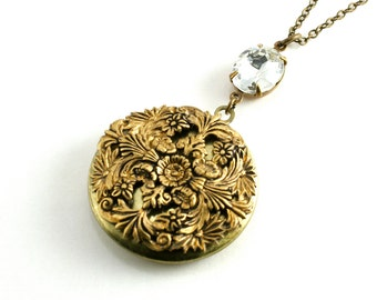 Floral Filigree Locket Pendant, Victorian Style Locket Necklace, Large Round Locket