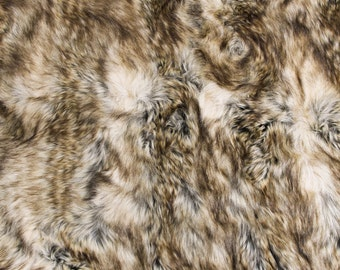 Brown Wolf Faux Fur Fabric by the yard for costume, throws, home furnishing, photo props - 1 Yard Style 5013
