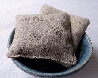 Lavender Sachet, Linen Lavender Sachets, Dandelions and Love, set of 2