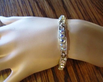Vintage White Metal and Aurora Borealis Crystal Bracelet, ca 1950s