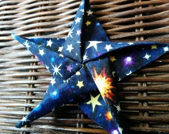 Glow in the Dark Galaxy Cotton Fabric Origami  Star Ornament