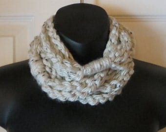 Aspen Tweed Infinity Scarf..Cowl..Neck Warmer..Crochet..Chain..Necklace..Gift for friend..Accessory