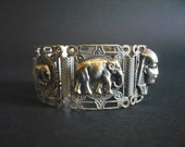 Antique Egyptian Revival French Bracelet Silvertone