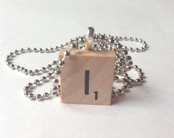 Scrabble Tile Alphabet Letter Necklace I