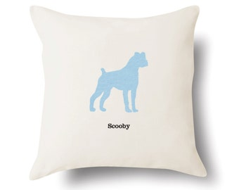 Personalized Boxer Pillow (Floppy Ears) - Off White 100% Cotton - 18x18 -  Name or Text Embroidered - Pet Silhouette - 4 Color Choices