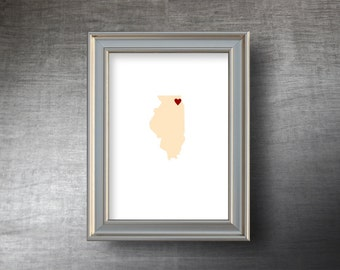 Illinois Map Art 5x7 - 4 Color Choices - UNFRAMED Hand Cut Silhouette - Illinois Print - Personalized Name or Text Optional