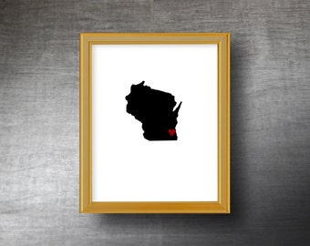 Wisconsin Art 8x10 - UNFRAMED Hand Cut Silhouette - Wisconsin Print - Wisconsin Wedding - Personalized Name or Text Optional