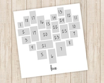Heart Storyboard collage template PSD, PNG instant download