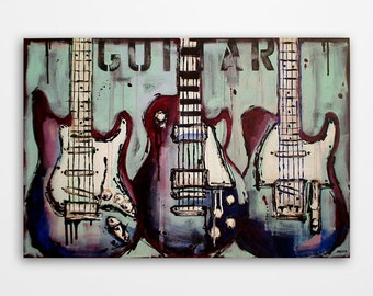 Guitar wall art Music art Gift for a musician Music wall art Original abstract guitar painting on canvas by Magier FREE U.S. Shipping
