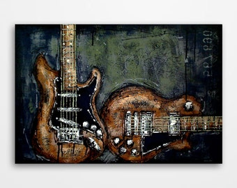 Guitar painting Music art Electric guitar art Gift for a musician Original textured guitar painting on canvas by Magier - MADE TO ORDER
