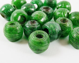 20 Recycled Bottle Green Rustic Glass Bead - Traditional Turkish Artisan Handmade - 10mm - BE146