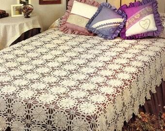 Crochet Lacy Motif Bedspread Pattern - Vintage Blanket - Bed Comforter Throw - PDF Instant Download - Digital Pattern - Afghan Pattern - Vtg