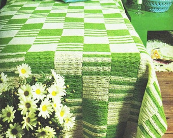 CROCHET Bedspread PATTERN Checkered Striped Green Blanket - PDF Instant Download - Afghan Throw - Modern Comforter - Bed Cover - Vtg