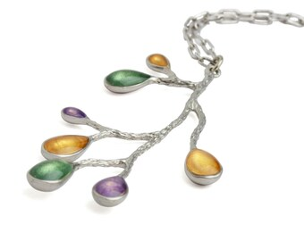 Xmas Gift Ideas Her,Green Necklace for Everyday Wear, Silver Purple Necklace, Fall Colors Necklace,Contemporary Jewelry,Good Christmas Gifts