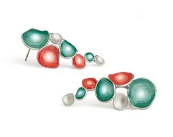 Statement Earrings stud, pastel earrings, light teal earrings, contemporary jewelry, enamel earrings,silver blue and pink earrings, obo