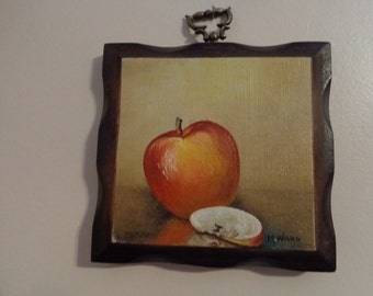 Vintage Original Signed Oil Painting On Wood Plaque Wall Hanging 1960's, M. Ward - Vintage Painting - Oil On Wood Painting -