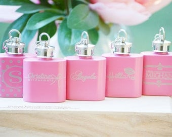 """Bridesmaid Gift Personalized Pink Flasks Wedding Bridesmaid Gifts ANY QUANTITY Custom Engraved Keychain Flask """"Will You Be My Bridesmaid"""""""