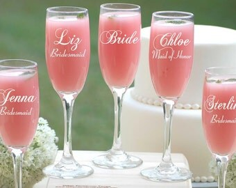 Bridesmaid Wedding Gifts, 10 Personalized Champagne Flutes, Custom Engraved Wedding Glasses, Etched Bridal Party Glasses