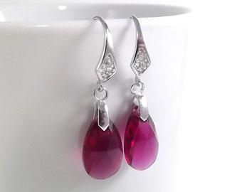 Ruby Swarovski Crystal Teardrops Sterling Silver Earrings