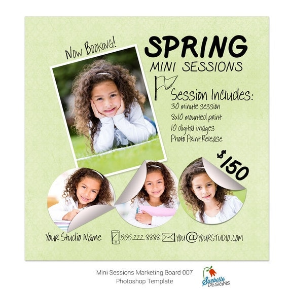 Spring Mini Sessions Template - 5x5 Marketing Board 007 Photoshop Template