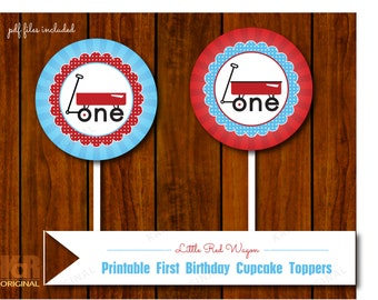 Little Red Wagon First Birthday Party Printable Tags // Little Red Wagon Cupcake Toppers // Little Red Wagon Printable // Instant Download