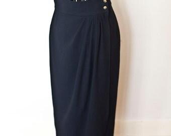 Vintage Wrap Around Black High Waisted Skirt Size 10