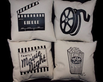 Set of four (4) HOME THEATER Pillow Set - PERSONALIZED Pillow Home theatre  decor