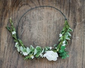 Simple Cream+Succulent+Greenery Flower Crown