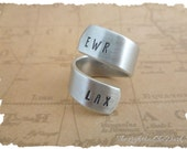 Long Distance Relationship Ring Personalize with your airport code pilot  gift idea LDR  Long Distance Love flight attendant travel vacation