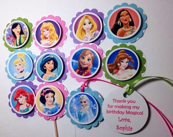 SET of 12 Disney Princess Cupcake Toppers, Favor Tags, FREE Personalize, Disney Princess Birthday, Princess Party Package, Designs by AliA