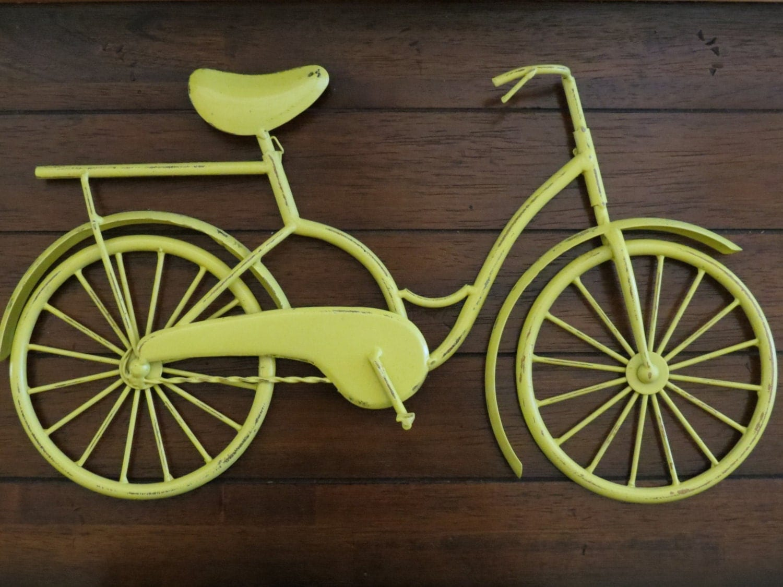 Metal Wall Decor Bicycle : Bike wall decor lemon yellow or pick your color bicycle metal