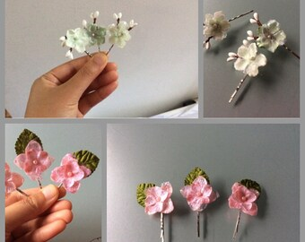Mint hair clips / pink hair clips Casual - Picnic/Outing - Wedding - Party - Bridesmaids - Flower Girls