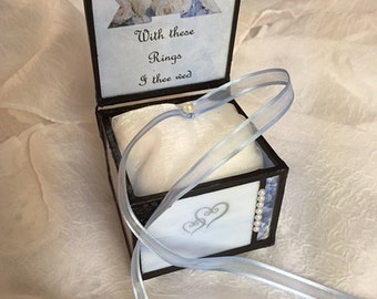 wedding ring pillow stained glass bridal ring bearer box