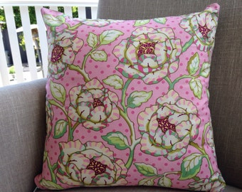"Heather Bailey Fresh Cut  ""Cabbage Rose"" in pink 45cm cushion cover backed with EST"