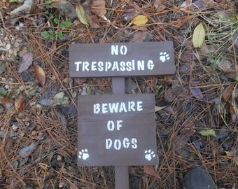 No Trespassing Beware Of Dog In Brown