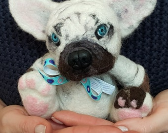 Pet Portrait, Needle felted dog french bulldog AVAILABLE!