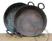 Vintage Industrial Hand Hammered Copper Dish Bowl Collection Plate Nesting Set 2