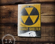 Vintage Industrial Fallout Shelter Metal Advertising Sign
