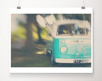 VW bus photograph teal VW bus print travel photography teal home decor nursery wall art Volkswagen Bus photograph