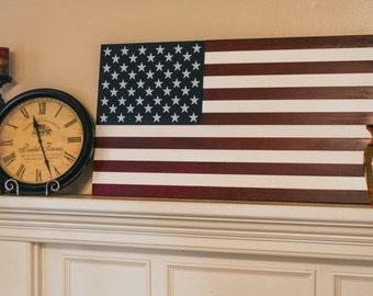 "36"" Extra Large Hand-Crafted Vintage Look Wood American Flag / Patriotic Wall Art Americana"