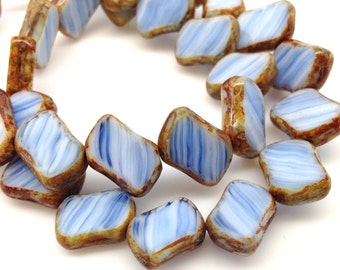15 White Blue Picasso Czech Diagonal Rectangle Glass Beads 14mm