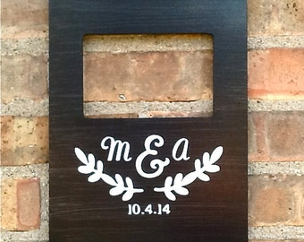 Personalized Wedding Picture Frame, Custom Wedding Date Gift, Personalized Wedding Shower Gift, Anniversary Picture Frame, Monogram Frame