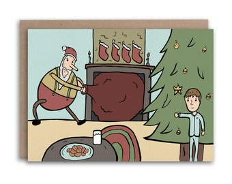 Spying on Santa Christmas Card // Hand Drawn Illustrated Christmas Card