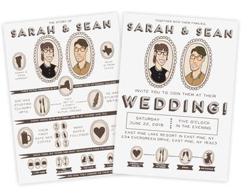 Custom Illustrated Wedding Invitation with Love Story:  The Story of Us  Hand Drawn Illustration Wedding Invitation with Portrait of Couple