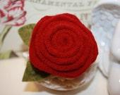 Deep True Red Felted Wool Flower Rosette Pin or Brooch w/ Green Wool Leaves