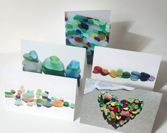 "Beach or sea glass greeting cards, set of 5, blank note cards, 5"" x 7"""