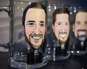 Set of 6 Groomsmen Caricature 15oz Brewmaster Beer Mug