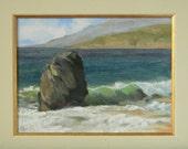Big Sur solitary rock - plein air seascape 12x9 original oil painting framed
